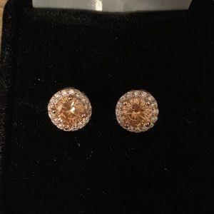 2TCW Madeira Citrine Halo Earrings